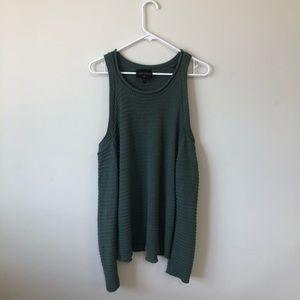 Olive Green open shoulder cute sweater